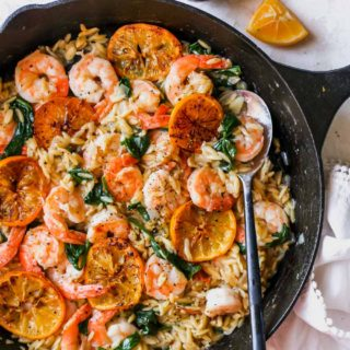 One Skillet Lemon Pepper Shrimp and Orzo