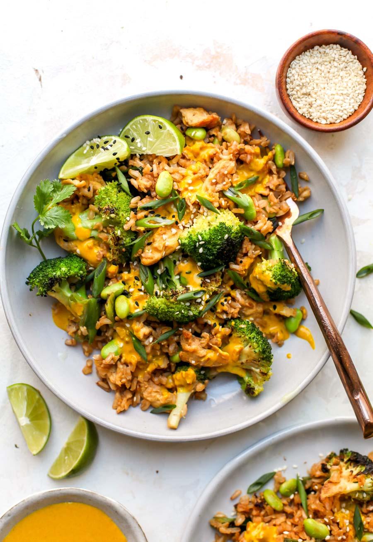 30 Minute Broccoli Fried Rice with Turmeric-Tahini Sauce
