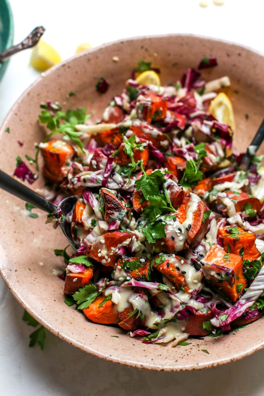 Sesame Sweet Potato and Radicchio Salad