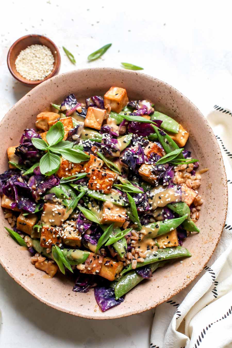 Crispy Tofu with Rice and Veggies