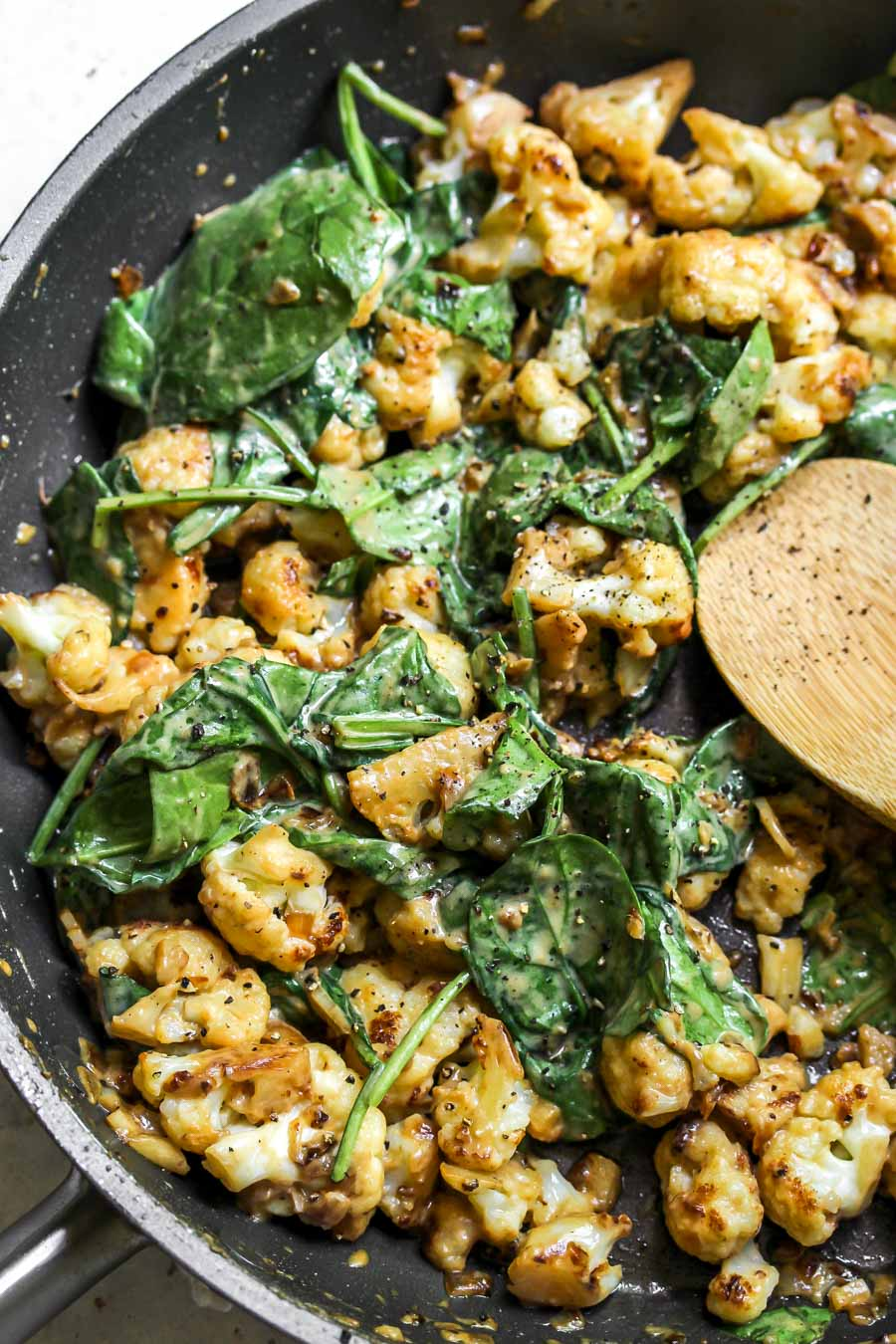 Miso Cauliflower with Spinach