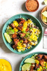 Jerk-Marinated Tempeh Bowls with Mango-Tahini