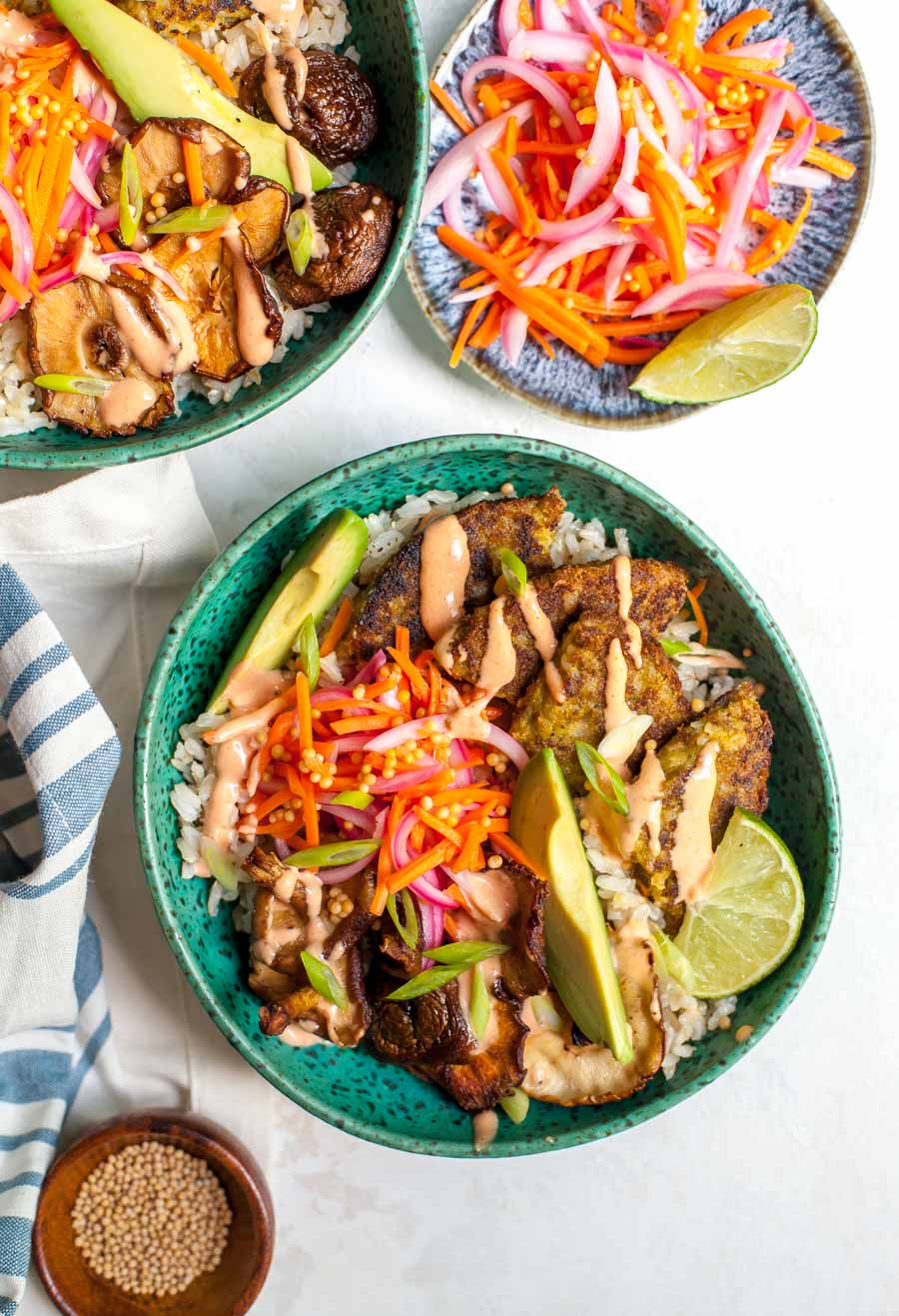Korean Veggie Burger Bowls with Yum Yum Sauce