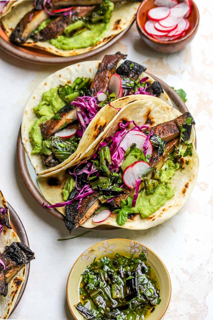 Portobello Mushroom Tacos with Charred Scallion Salsa