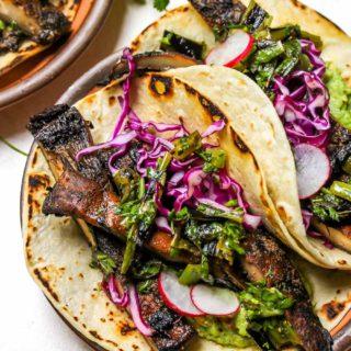 Portobello Mushroom Tacos with Charred Scallion Salsa Verde