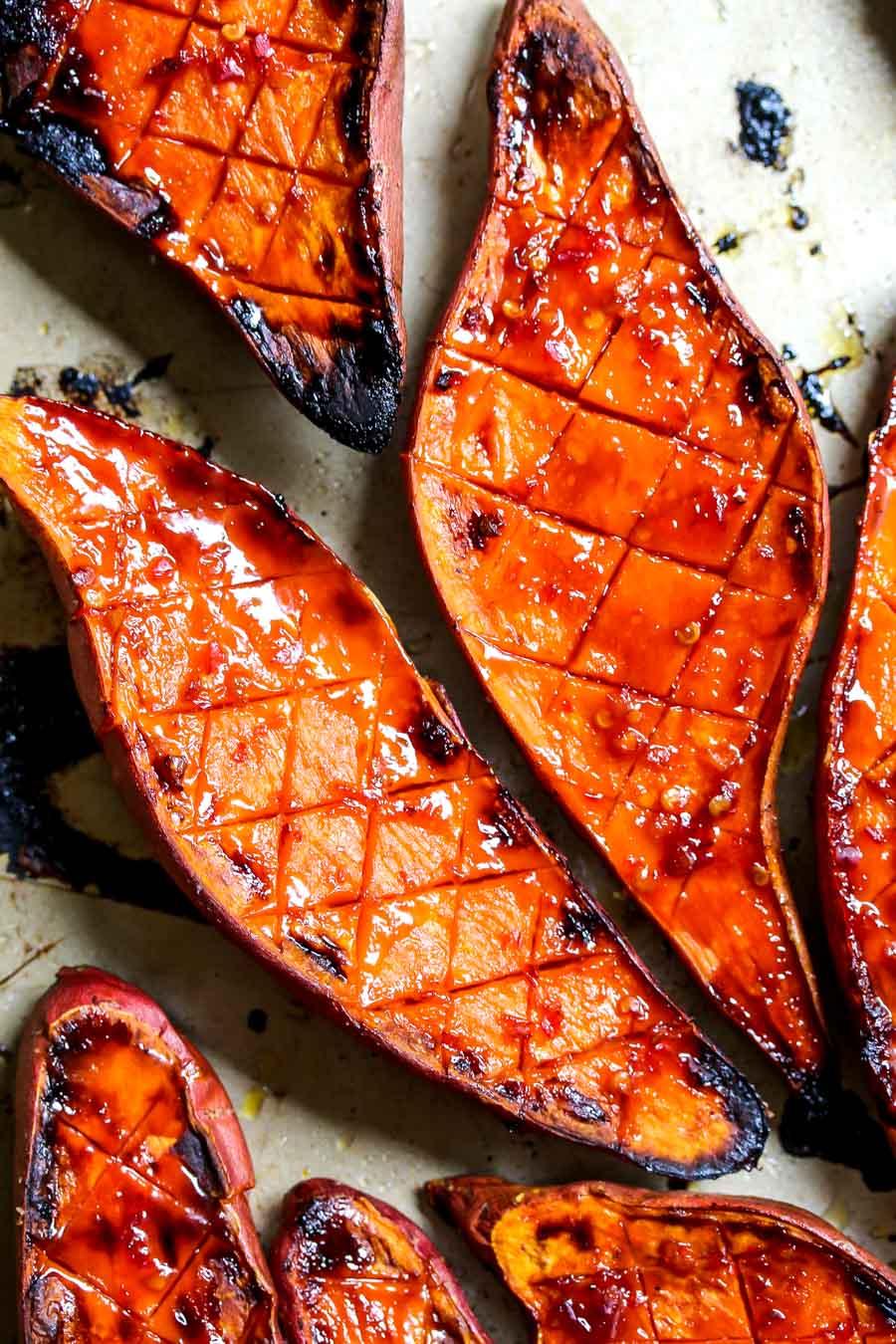Chile-Glazed Roasted Sweet Potatoes