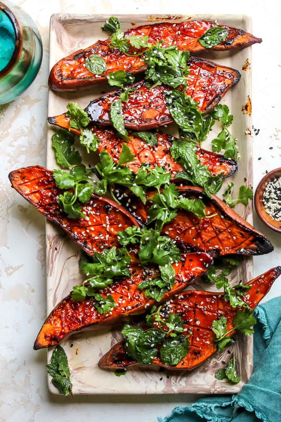 Roasted Sweet Potatoes with Chile Glaze and Cilantro