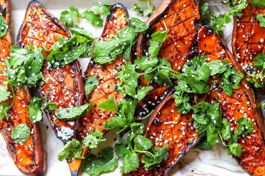 Roasted Sweet Potatoes with Chile Glaze and Herbs