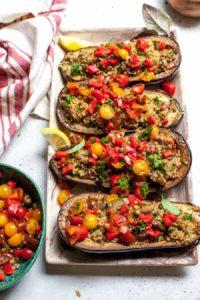 Quinoa-Stuffed Eggplant with Mediterranean Salsa