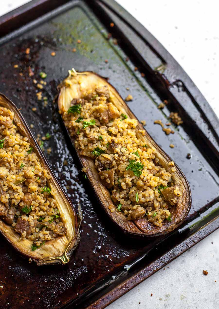 Quinoa-and-Herb Stuffed Eggplant with Tahini