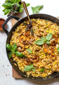 Shrimp and Orzo Skillet with Creamed Corn