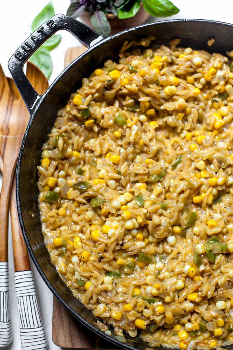 Creamed Corn and Orzo Skillet