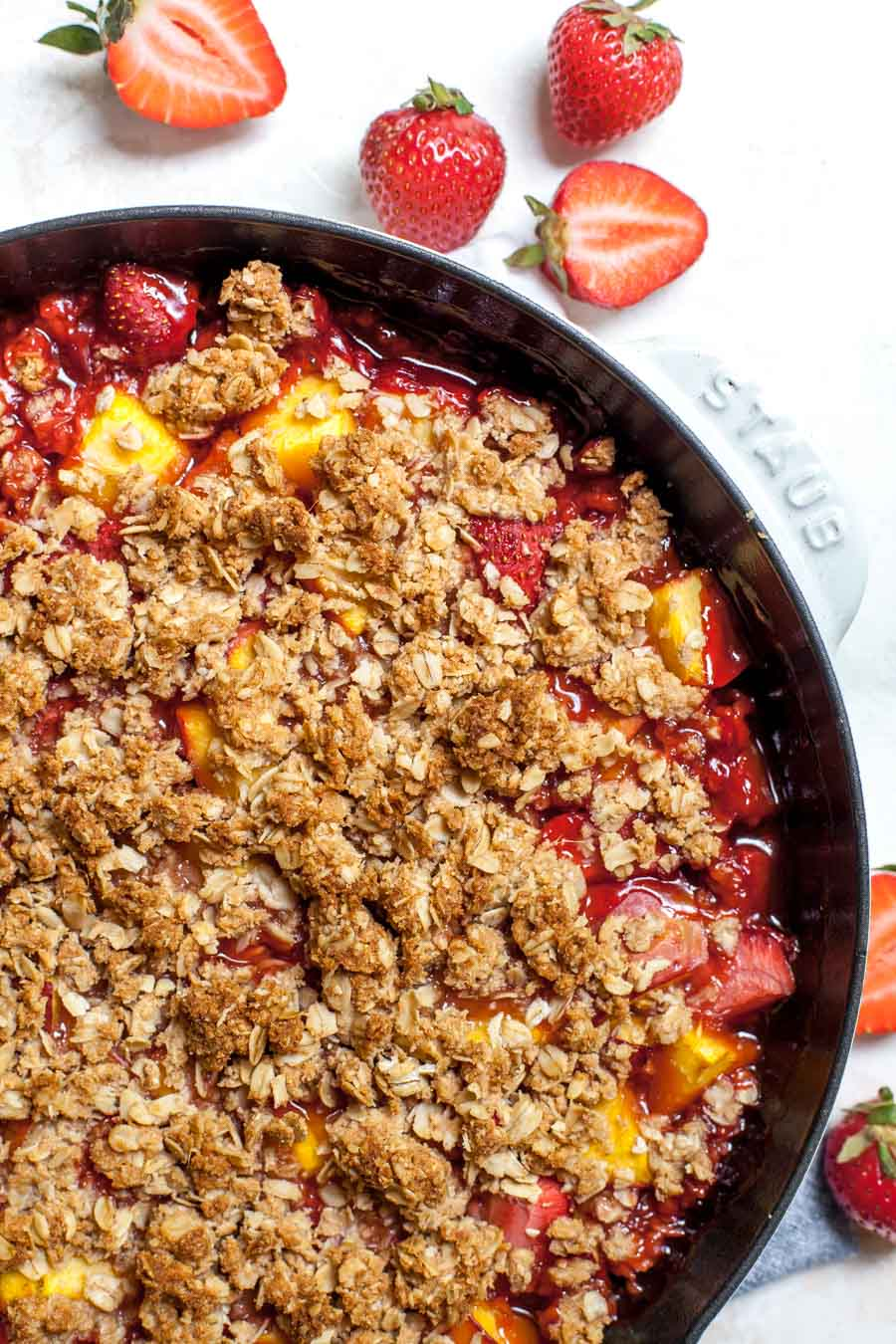 Gluten free fruit crisp with strawberries and nectarines