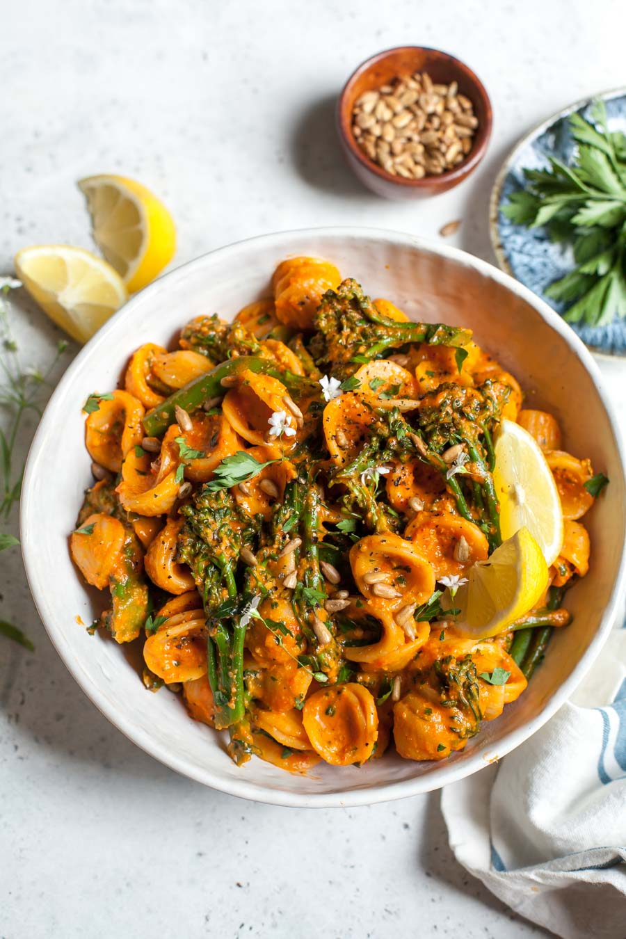 Pasta with Sunflower Seed Romesco