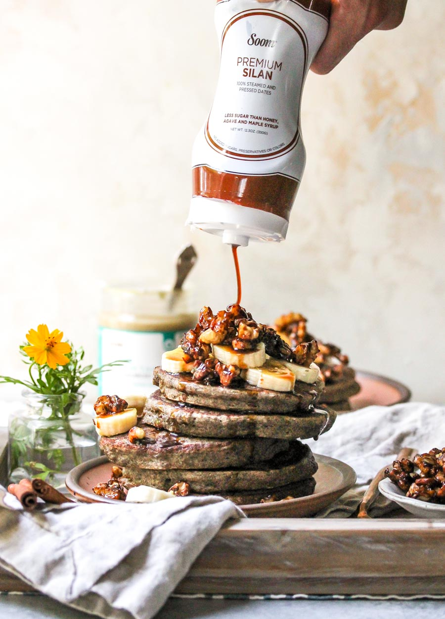 Soom Silan Date Syrup Drizzled Over Buckwheat Pancakes