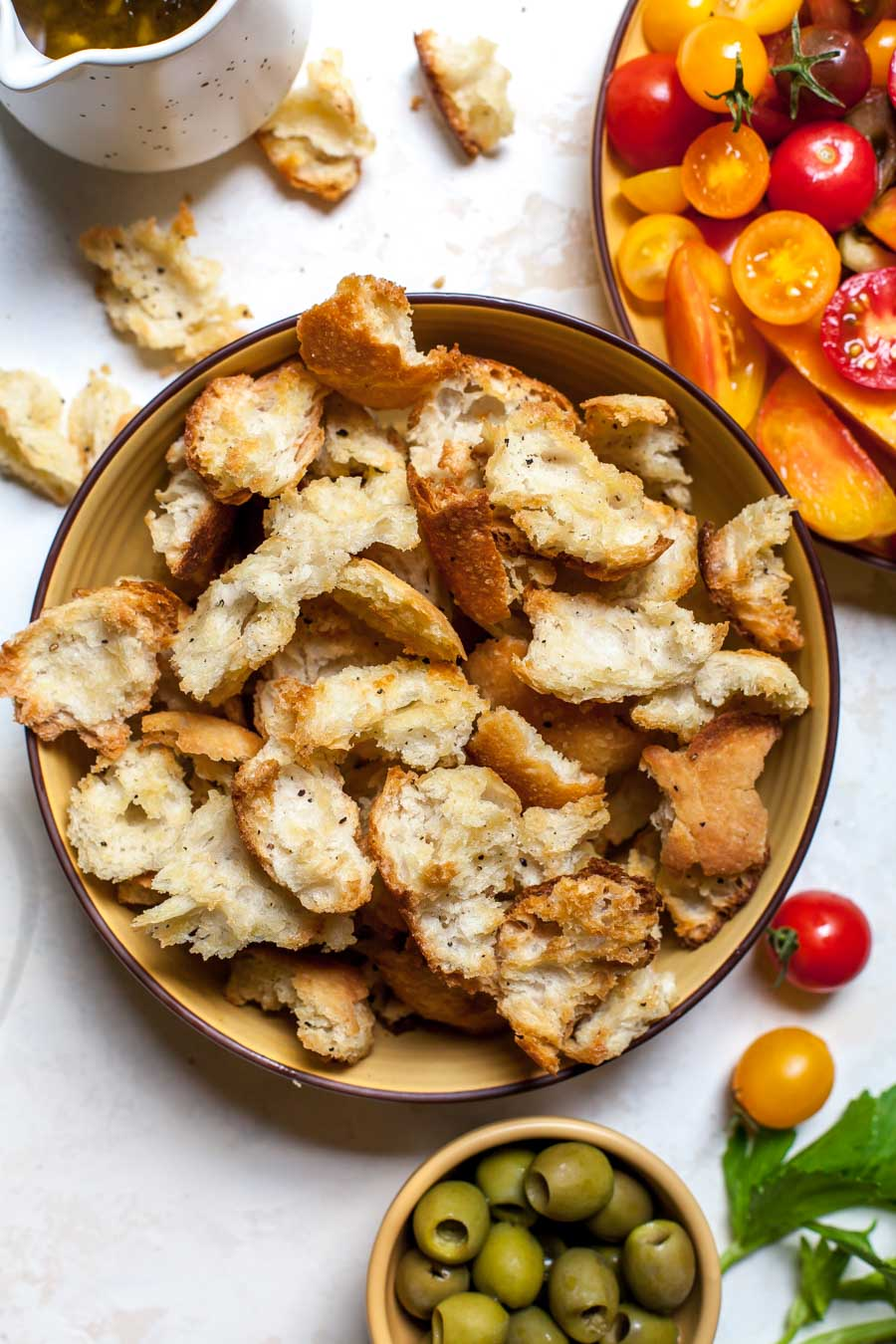 Toasted country bread for panzanella salad
