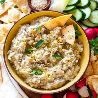Roasted Eggplant Dip with Tahini and Sizzled Garlic
