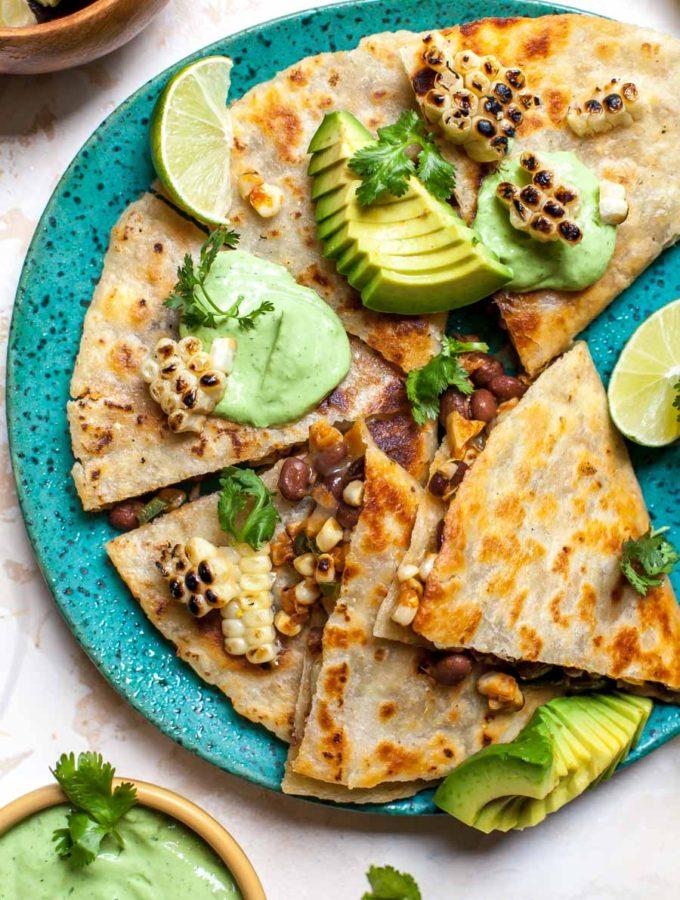 Mexican Grilled Corn Quesadillas with Avocado-Cilantro Cream
