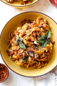 Vegetarian Mushroom and Walnut Bolognese Pasta