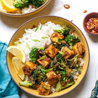 Crispy Tofu with Broccoli, Scallions, Rice and Almond Butter Sauce
