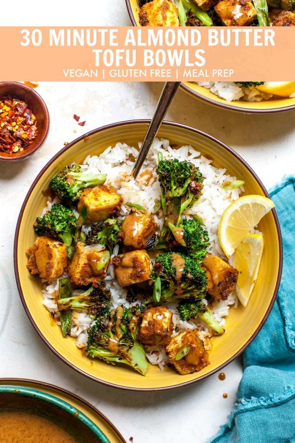 Meal Prep Crispy Tofu with Almond Butter Sauce and Broccoli