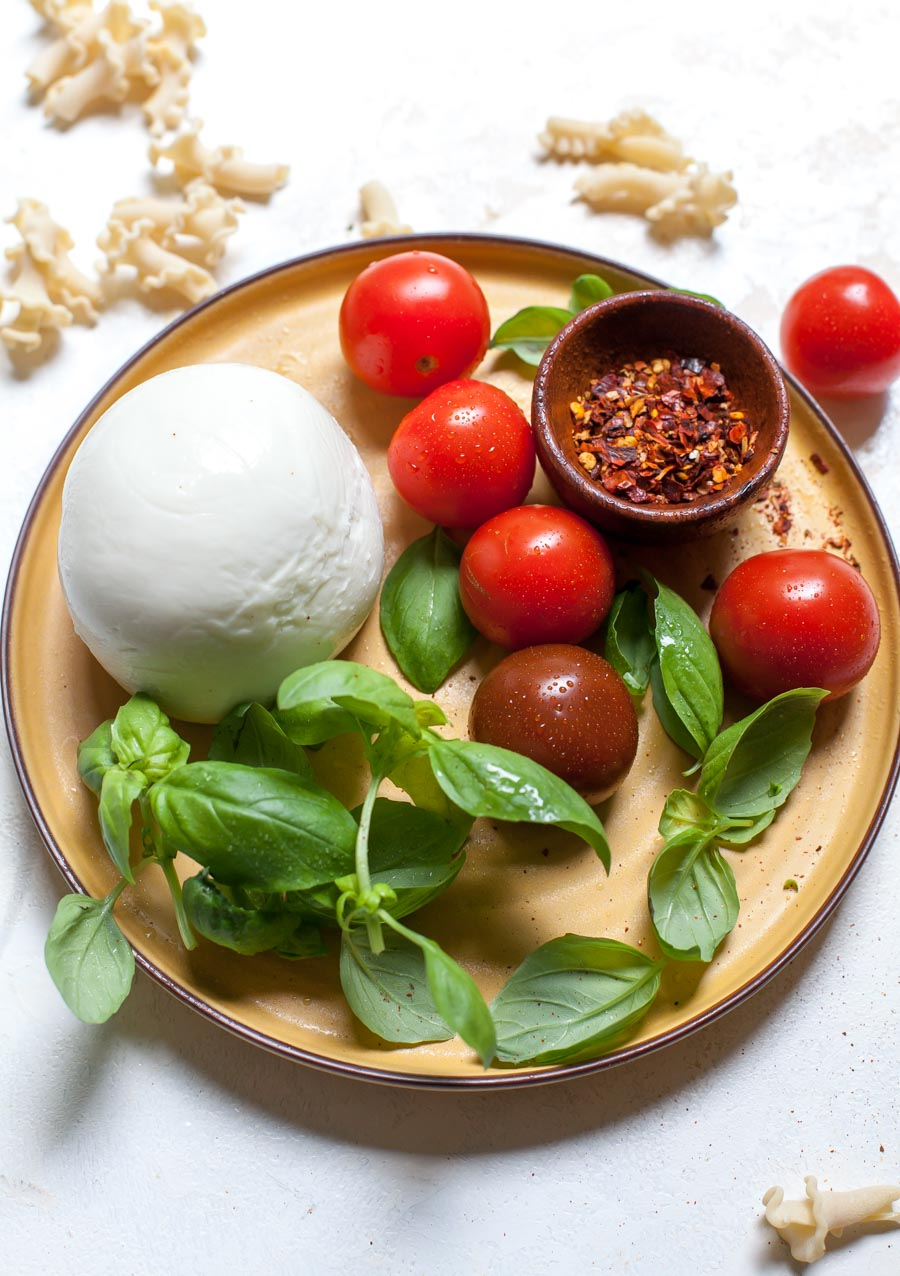 Fresh mozzarella, basil, and cherry tomatoes