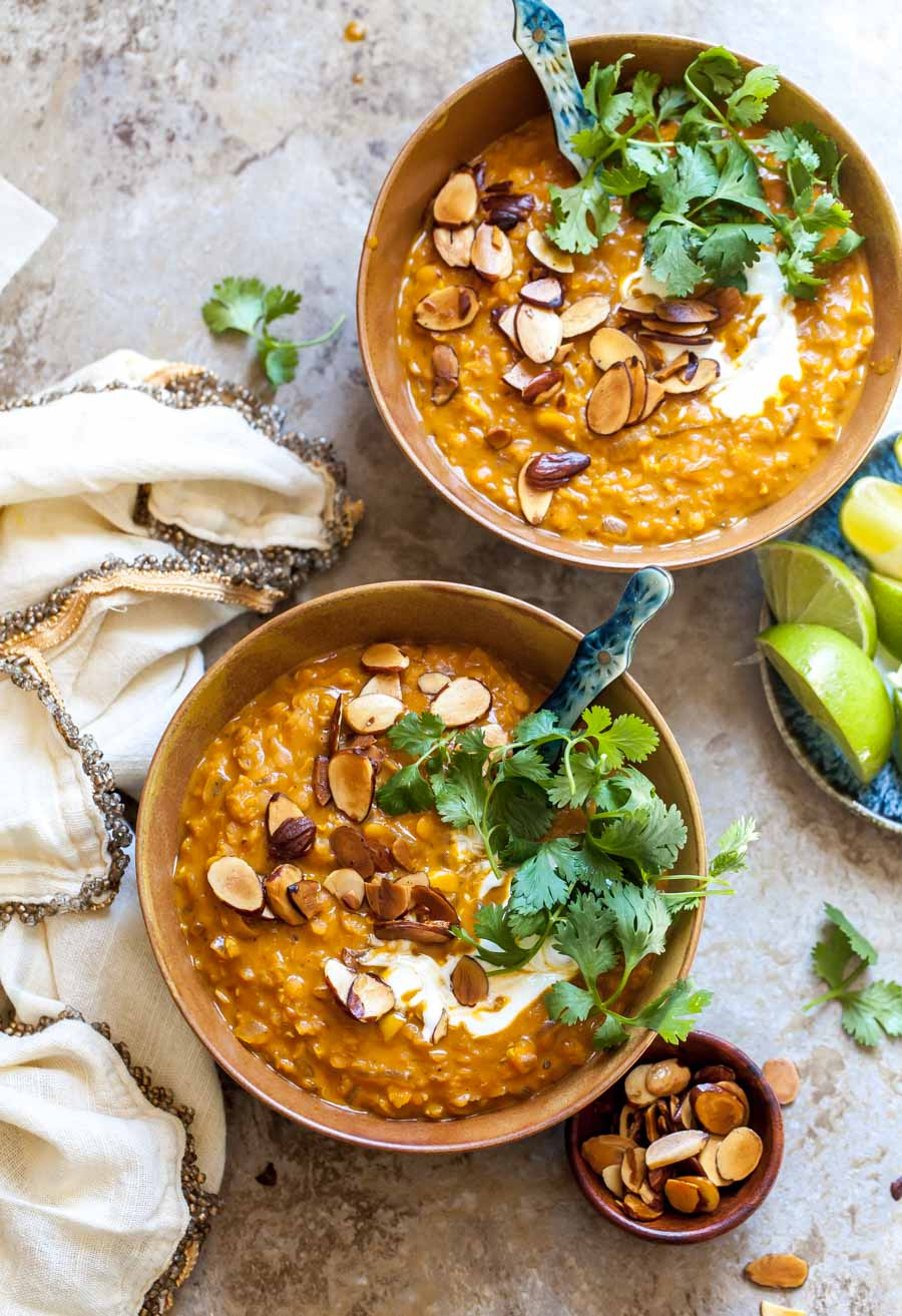 Healthy Curried Lentil Soup with Toasted Almonds and Cilantro (Vegan, Freezer-Friendly)