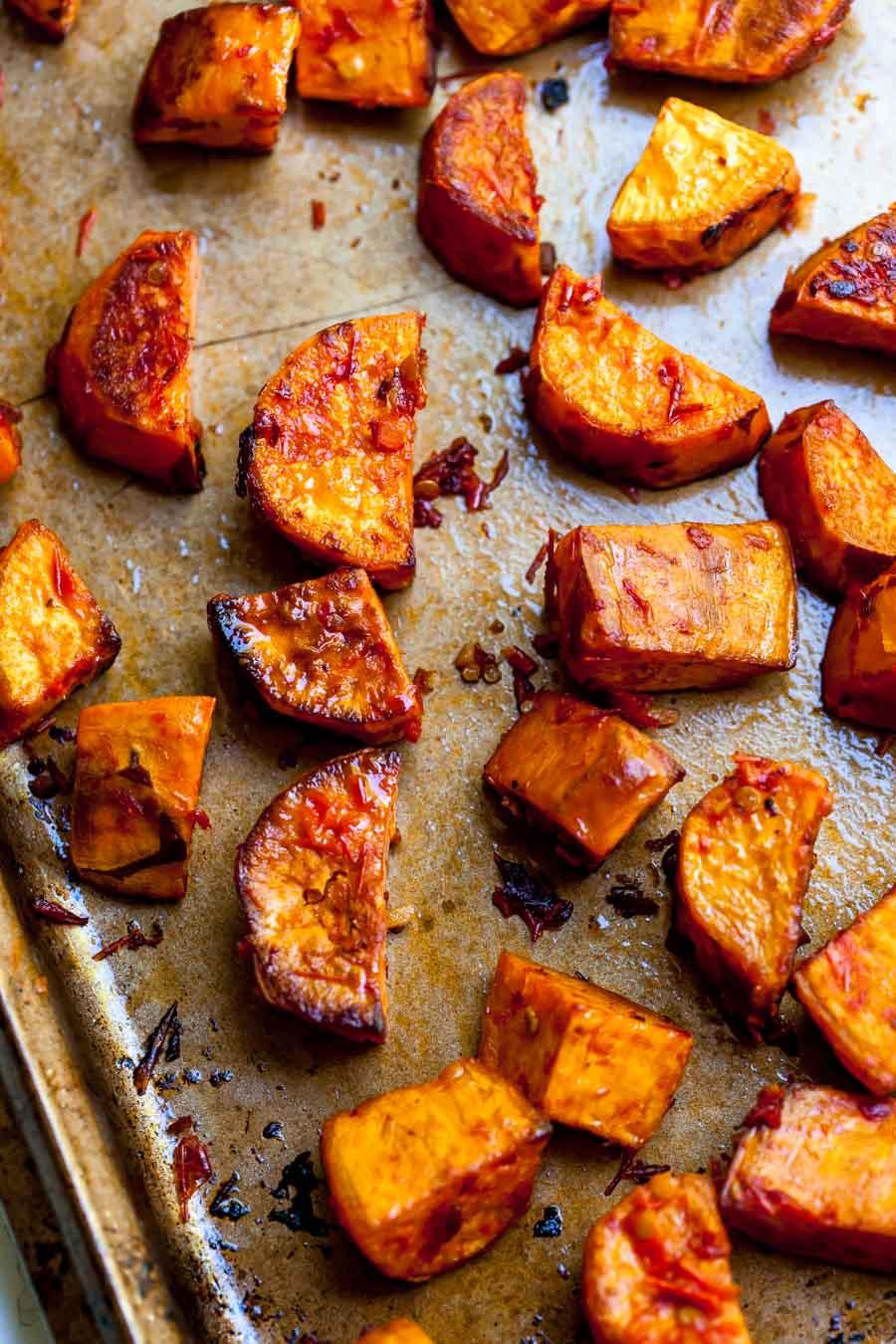 Harissa-Roasted Sweet Potatoes