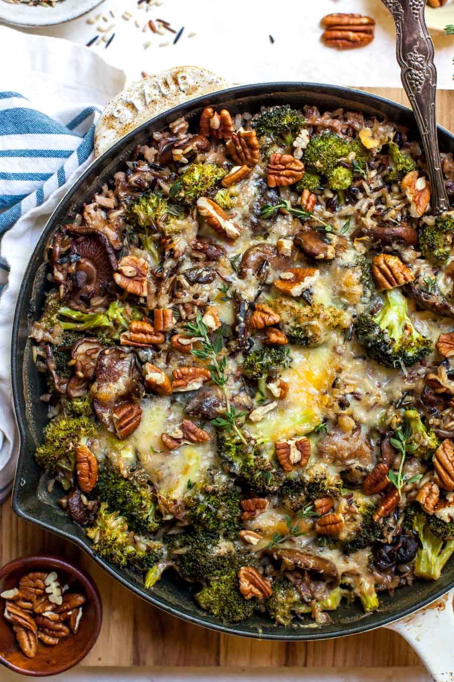 Skillet Rice Casserole with Cheesy Broccoli and Mushrooms