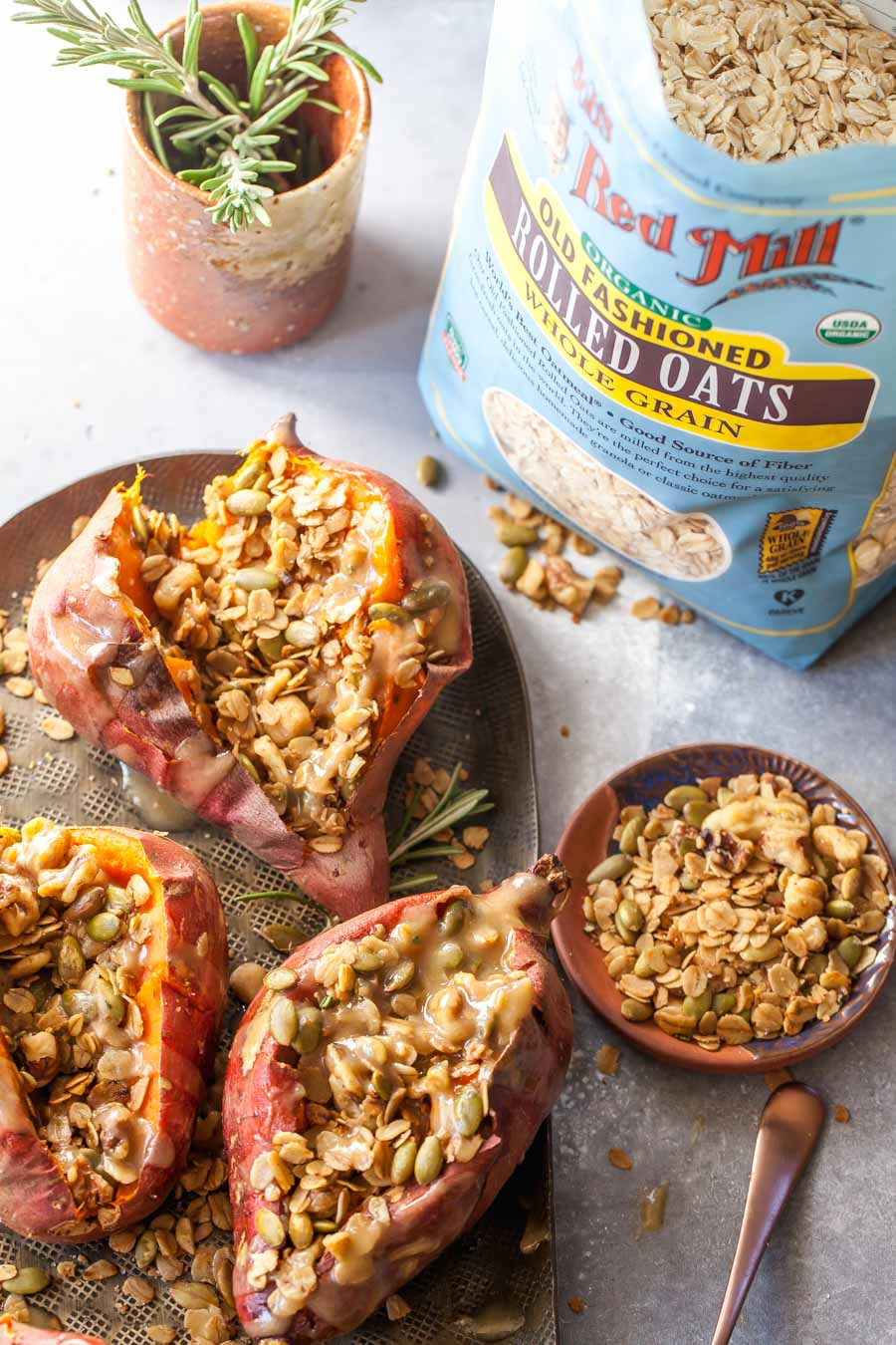 Savory Granola Filled Sweet Potatoes with Maple-Tahini Butter for Brunch
