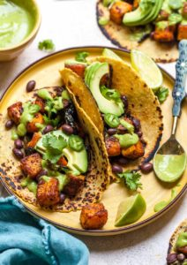 Vegetarian Tacos with Chipotle-Roasted Butternut Squash, Black beans, and Avocado Cream Sauce