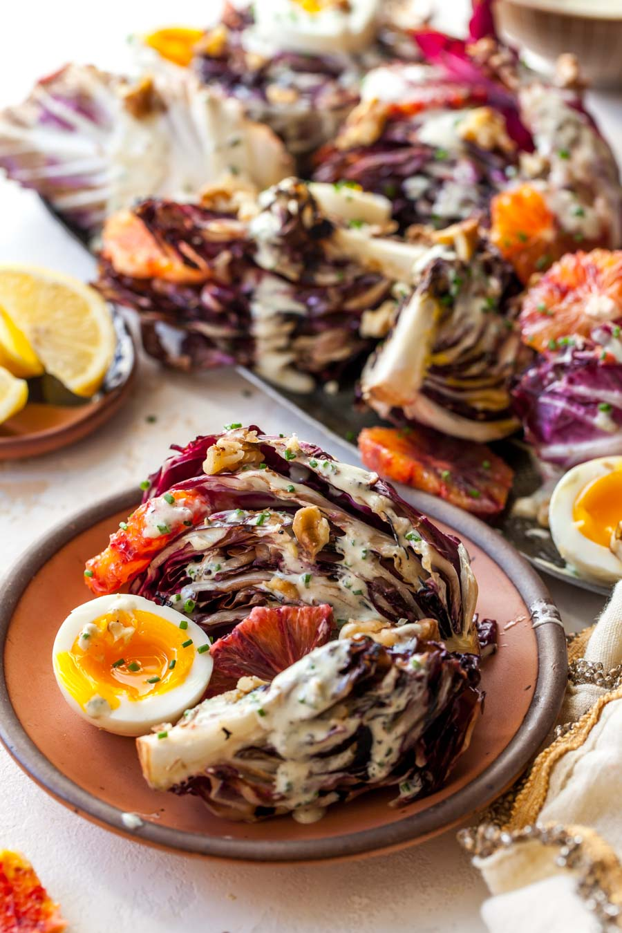 Radicchio Salad with Miso Dressing, Eggs, Citrus, and Walnuts