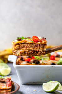 Vegetarian Mexican Casserole with Walnut Chorizo, Cheese, and Tortillas