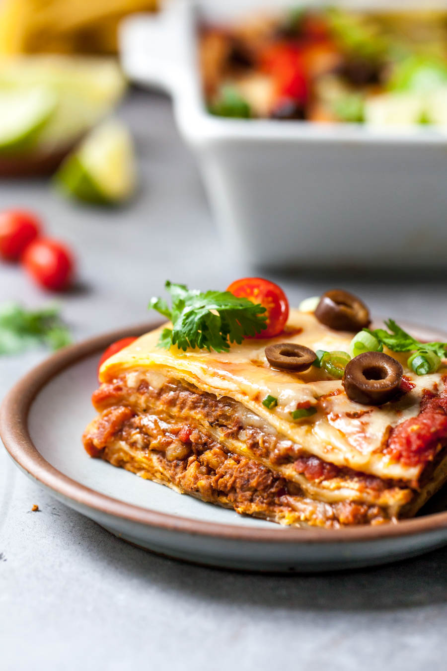 Layered Mexican Lasagna with Vegan Chorizo and Toppings
