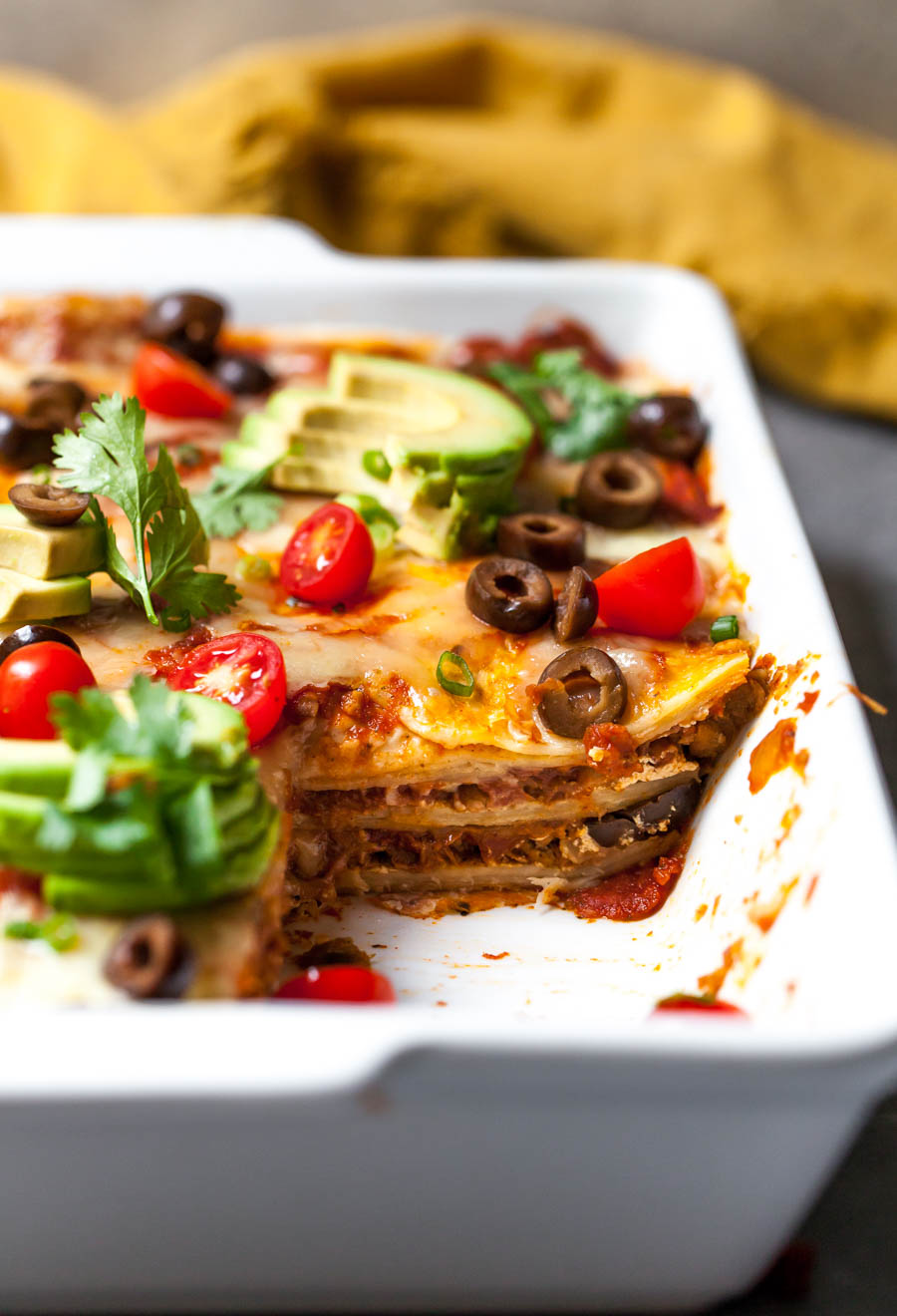 Mexican Casserole with Salsa, Cheese, Plant-Based Chorizo, and Toppings