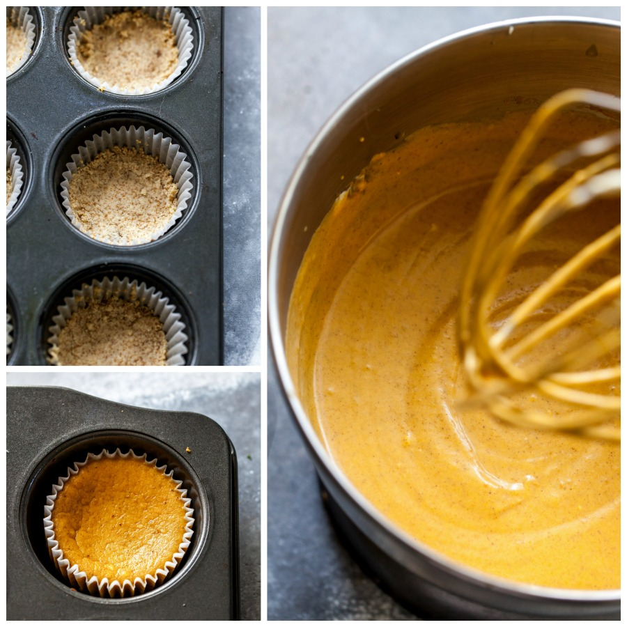 Step-by-step on how to make mini cheescakes