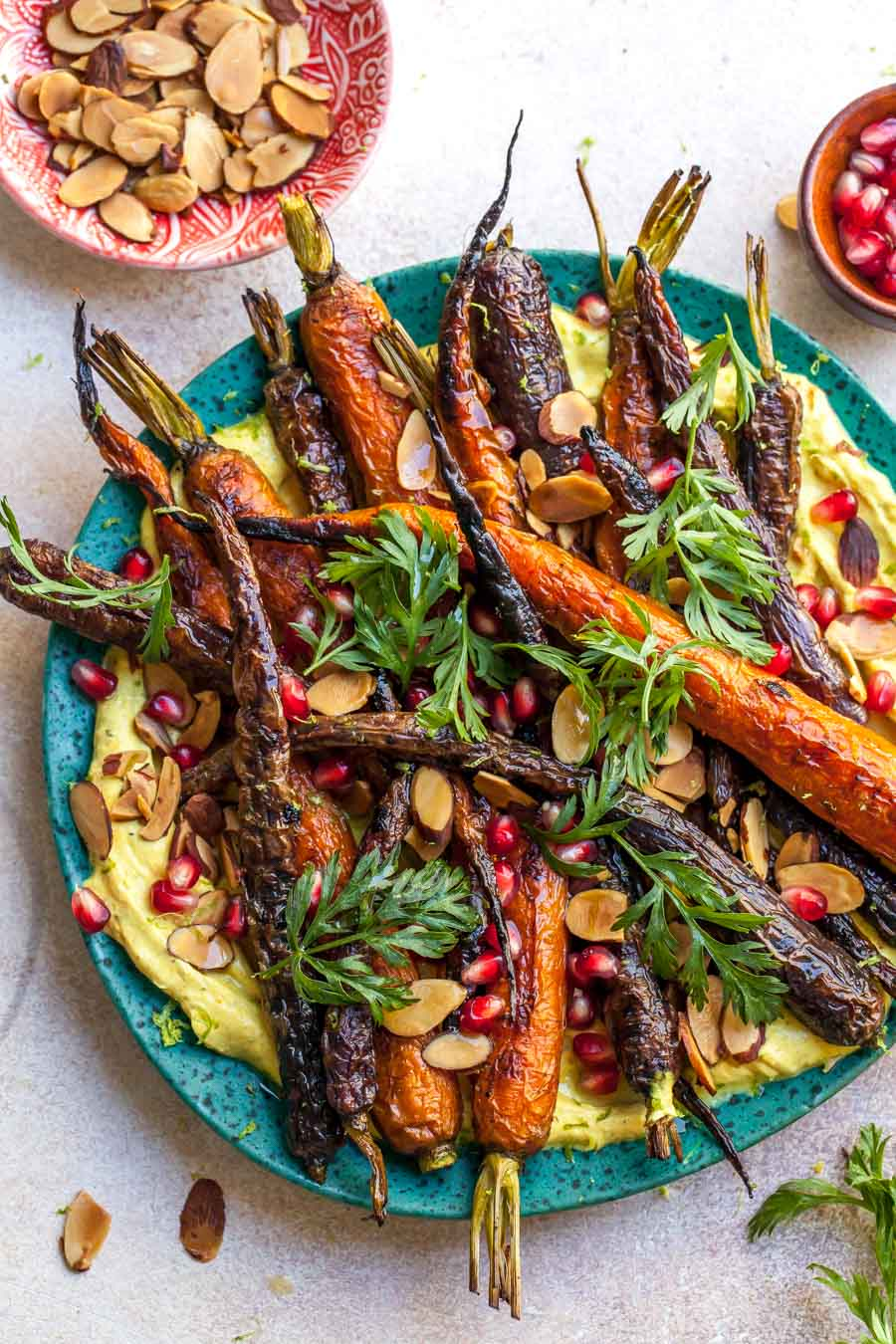 Roasted Carrots with Curried Yogurt and Toasted Almonds for a 5 Ingredient Side Dish