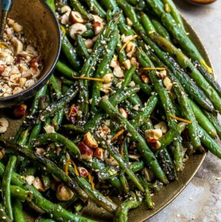Green beans cooked in browned butter with toasted hazelnuts