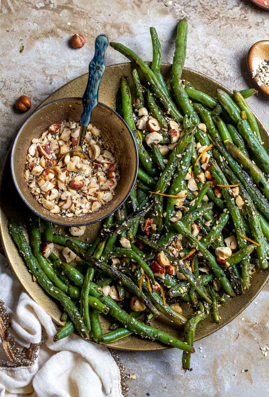 Browned Butter Green Beans with Hazelnut Dukkah (5 Ingredients)