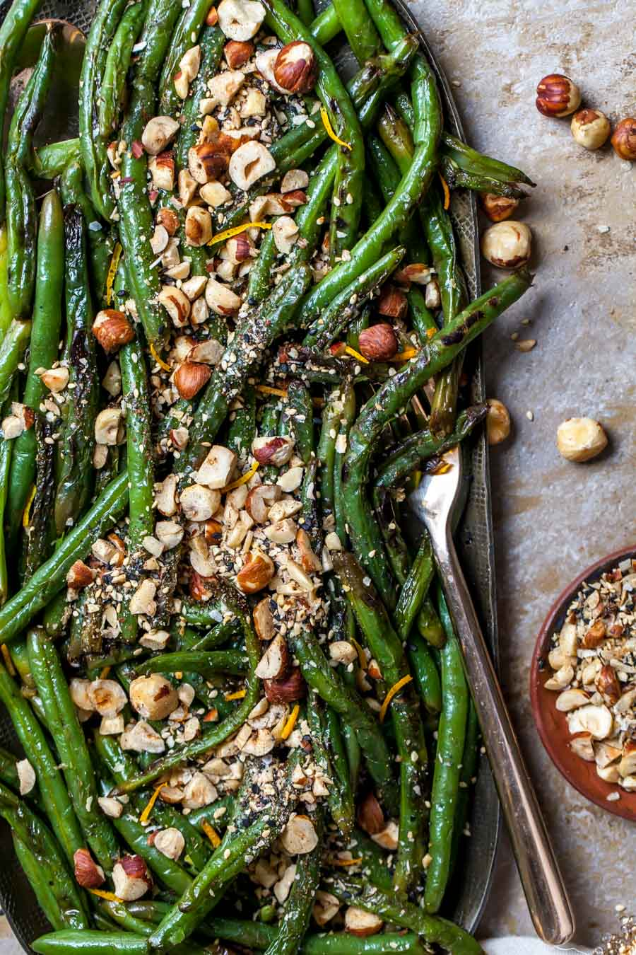 Green Beans with Browned Butter on a Platter with Crunchy Dukkah