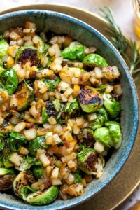 Easy Side Dish of Sauteed Sprouts with Pear-Balsamic Chutney and Rosemary