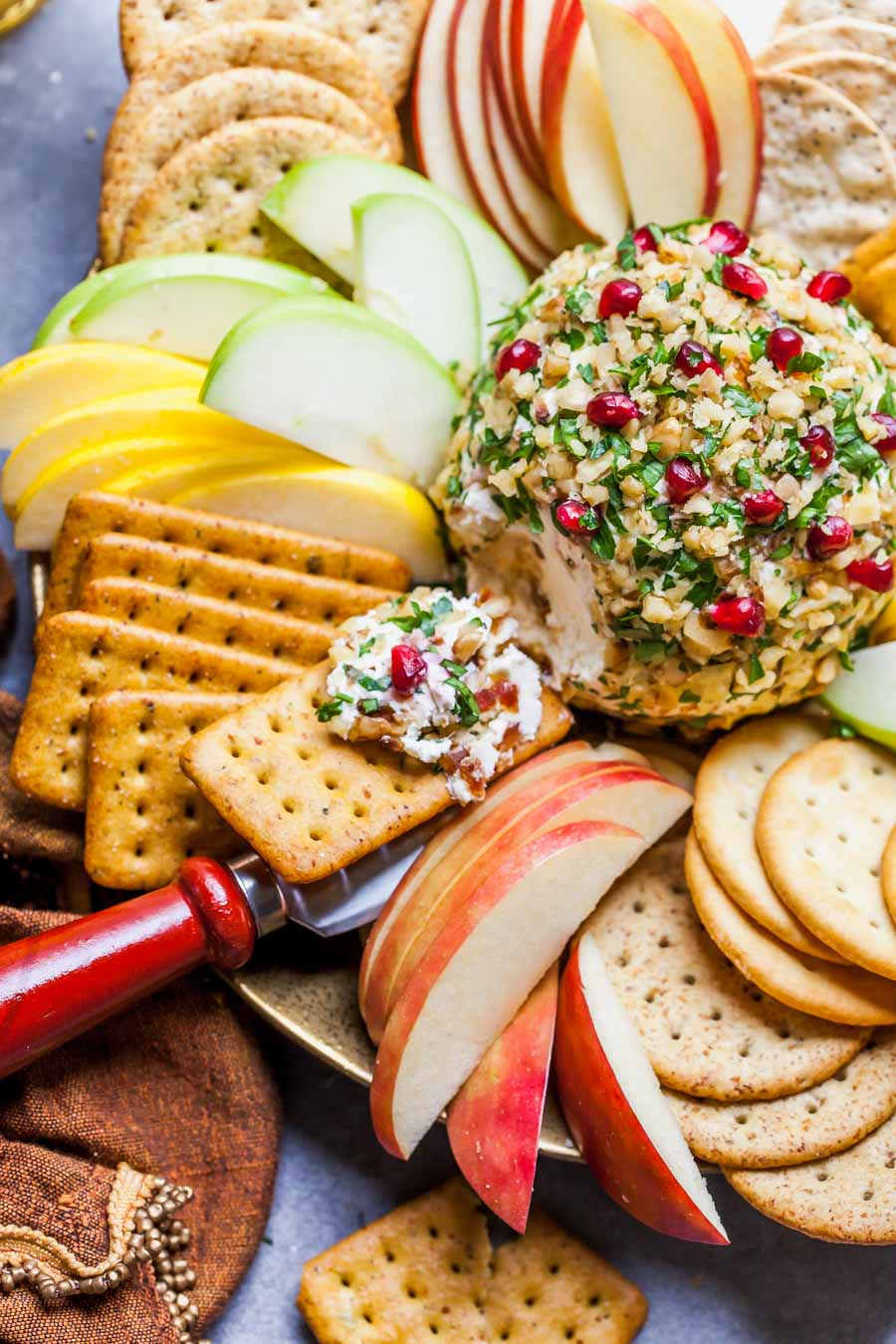 Holiday Cheese Appetizer Served with Crackers and Fruit