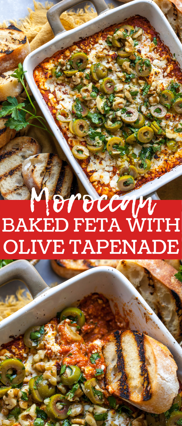 Moroccan Baked Feta Cheese Appetizer topped with Olive Tapenade