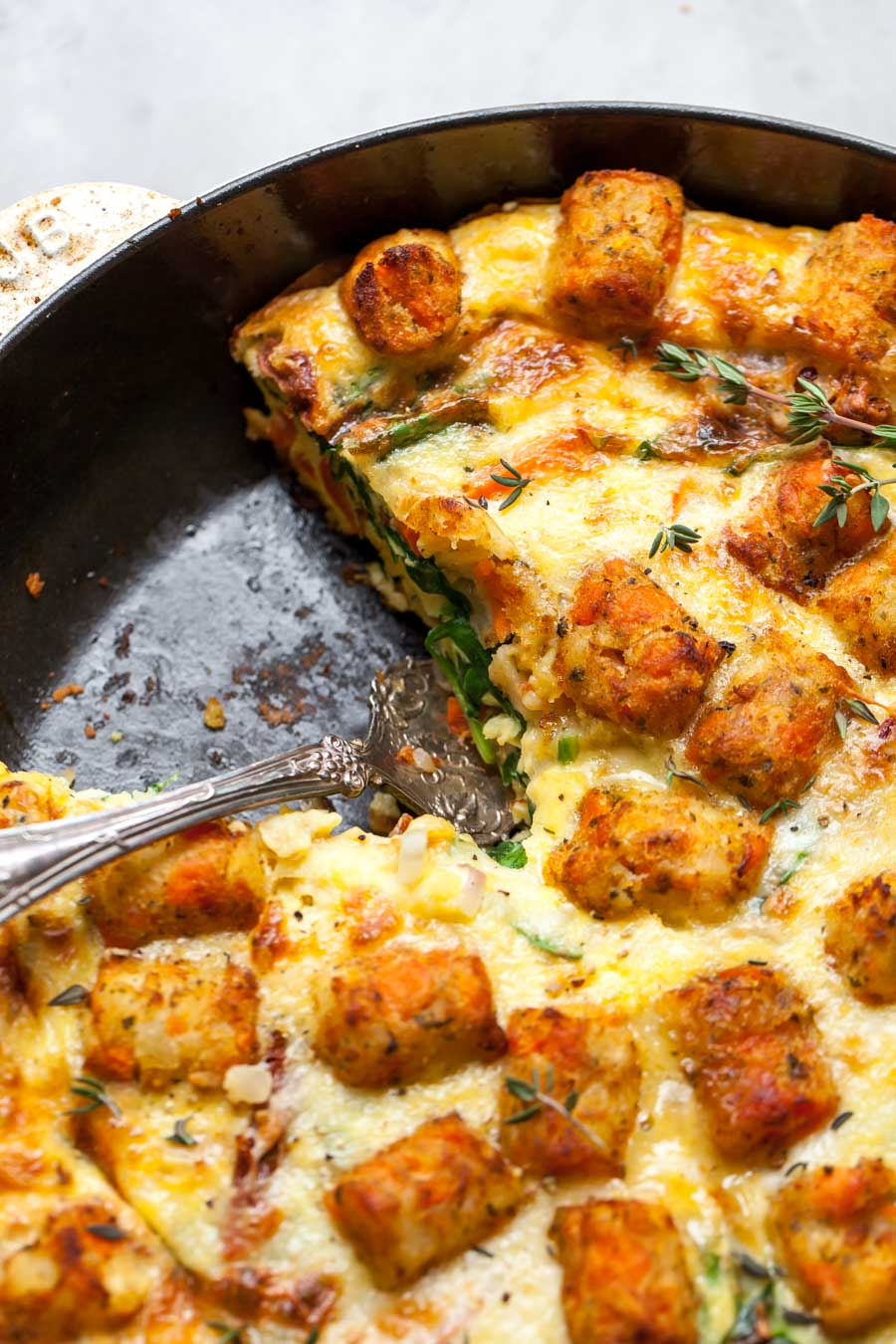 Mediterranean Veggie Frittata with Cheese and Tater Tots