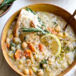 Vegetarian Creamy Soup with White Beans, Lemon, and Parmesan