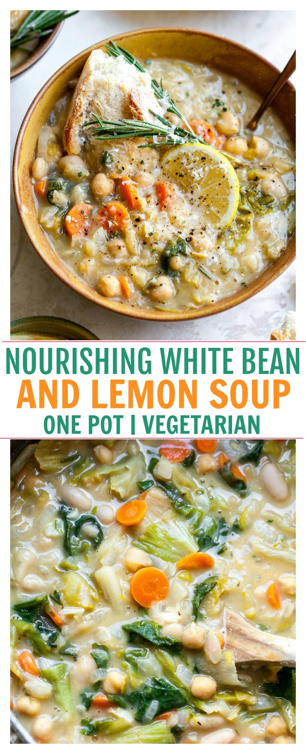 One Pot Vegetarian Soup with White Beans, Lemon, Rosemary, and Parmesan