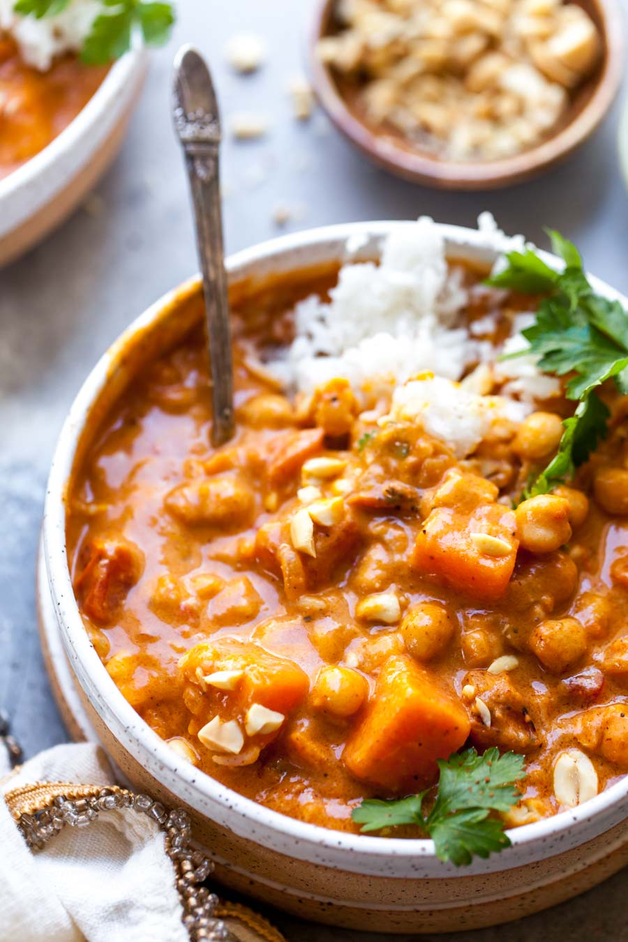 One Pot West-African Inspired Peanut Stew Served with Rice