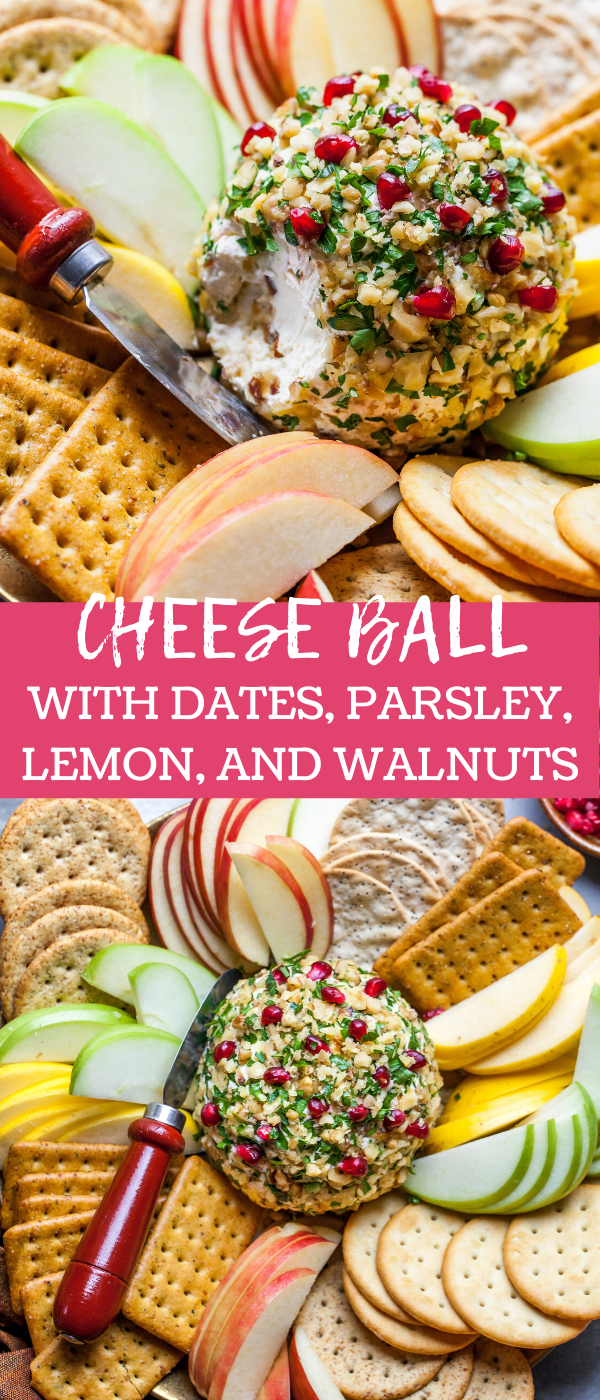 Goat Cheese Ball with Dates, Walnuts, Lemon Zest, and Parsley