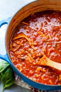 Meatless Lasagna Soup with White Beans, Mushrooms, and Herbed Ricotta