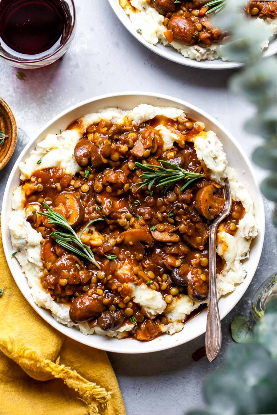 Stewed Lentil and Mushroom Gravy Over Parsnip and Potato Mash